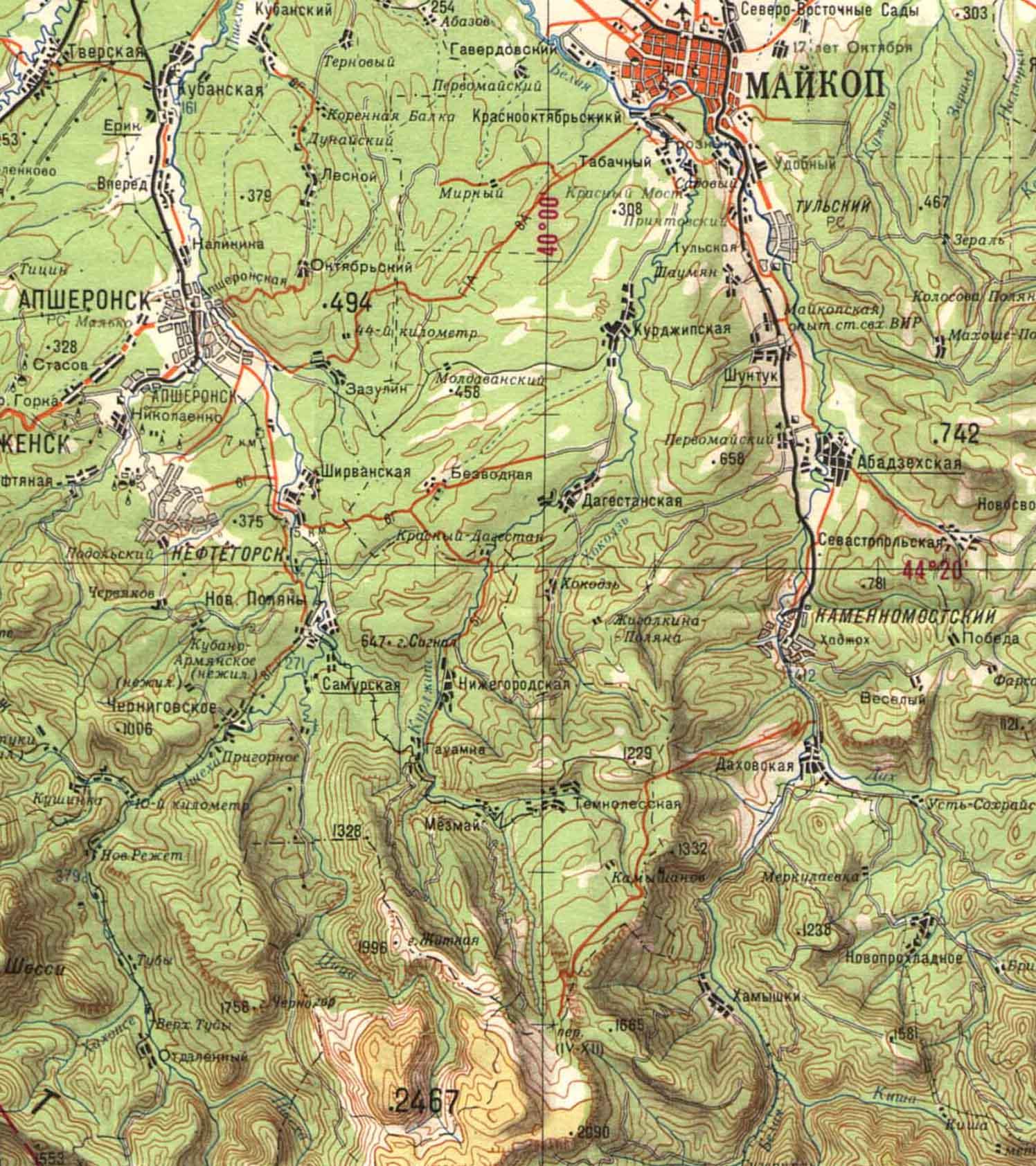 Карта горной Адыгеи, Апшеронского района, Лаго-Наки