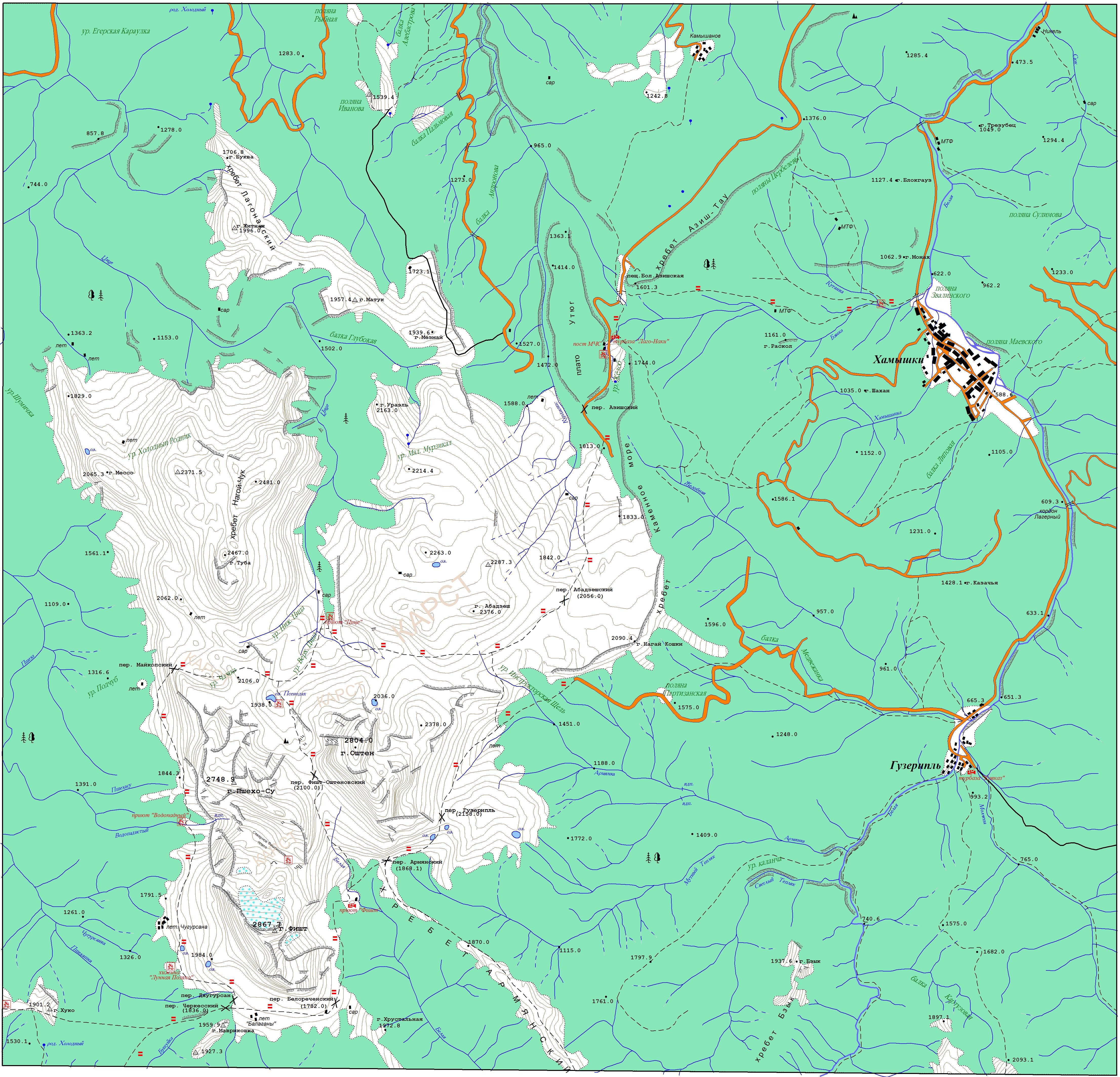 Карта туристических маршрутов Лагонаки, Фишт. Маршрут 30.