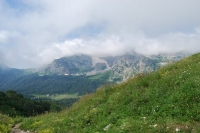 Вид на Фишт и Приют Фишт с Армянского перевала